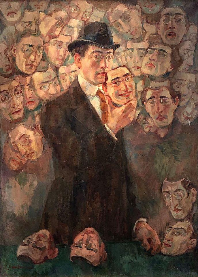 Raphaël Chanterou: Homme aux masques, 1930 Olio su tela.